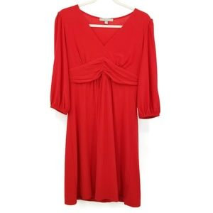 NY Collection Stretch Empire Dress Rouched sleeves